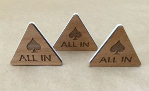 Lot of 3 ALL IN Button Poker Triangle Wood-Plastic Custom Poker Game