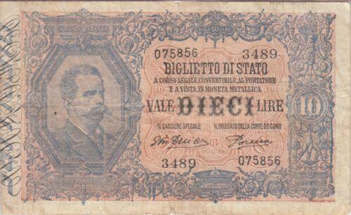 Italy Banknote P20g-5856 10 Lire Deliara -Porena, F-VF