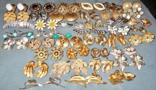Great Variety  40 pair  Vintage Designer Signed Earrings  Coro Lisner Trifari...