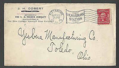 1905 L A BECKER CO PITTSBURGH PA MFR 20TH CENTURY SANITARY SODA FOUNTAIN