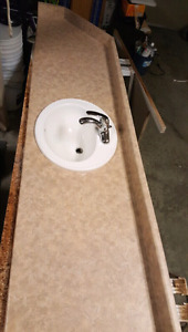 Bathroom Counter w/sink and faucet