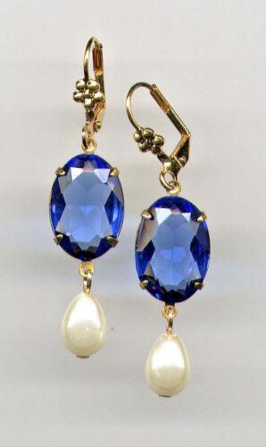 GORGEOUS SAPPHIRE BLUE cut-crystal PEARL Teardrop Earrings 14K Gold gp Vtg Czech