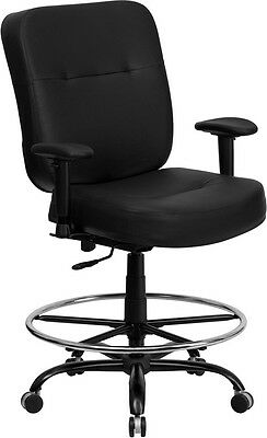 Hercules 400 Lb. Capacity Big Tall Leather Drafting Chair W Arms Wide Seat