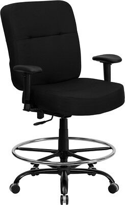 Big Tall 400 Lbs. Capacity Black Fabric Office Chair Warms Drafting Stool