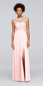 David's Bridal - Petal Pink Bridesmaid Dress Lace and Mesh x 3
