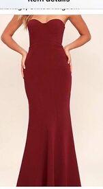 Burgundy formal dress size small. U.K. 8