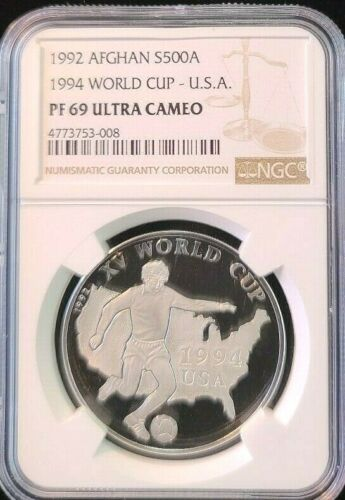 1992 AFGHANISTAN SILVER 500 AFGHANIS WORLD CUP USA NGC PF 69 ULTRA CAMEO TOP POP