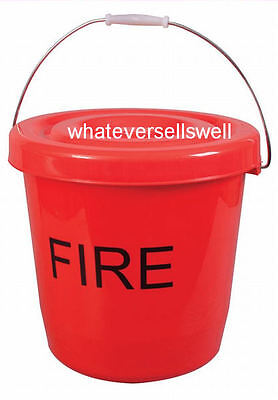 15 Litre Red Plastic Fire Bucket With Lid Camping Caravan Tent Event Festival