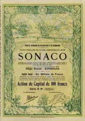 SONACO Societe 1928 Africaine Kinshasa Südafrika Brüssel Historische Wertpapiere