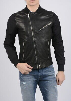 Diesel L-TOMBSTONE Leather Jacket BLACK Size LARGE SLIM 100% Sheepskin Leather