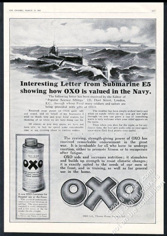 1915 Royal Navy Submarine E5 art WWI theme OXO vintage print ad