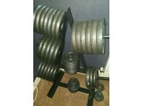 Cast iron weight plates 120kg in weight gym. £1 per 1kg without weight tree