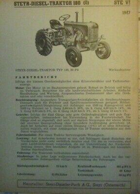 * Steyr 180 Traktor 1947  Datenblatt  Typenblatt original   *