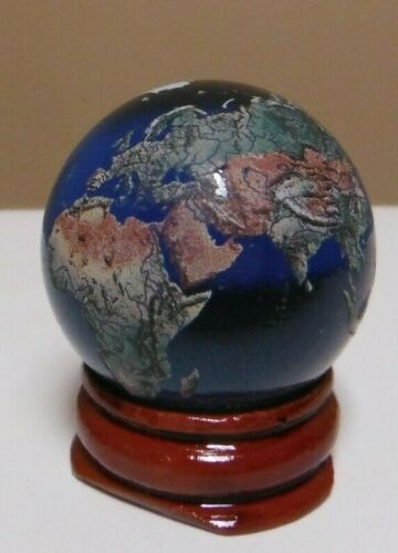 Earth Globe Marble 35mm-Recycled Glass-Navigational Space Earth With Stand & Bag