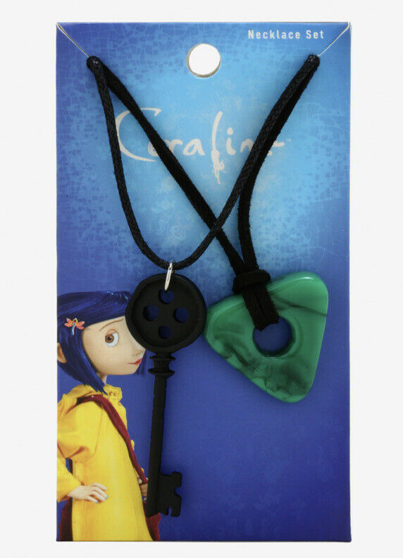 Coraline Black Key And Green Seeing Stone Necklace Set