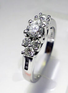 NEW 1.0 CT 14K WHITE GOLD 3 STONE DIAMOND ENGAGEMENT ANIVERSARY