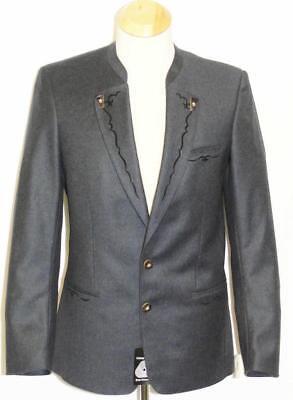 """Boiled Wool Jacket Men Blue German Long Sleeves Hunting Sport Suit Coat 39"""" S"""