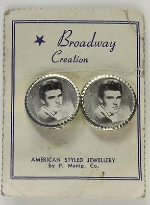 Vintage Broadway Creation Costume Jewelry RICKY NELSON Image 20MM Clip Earrings