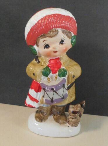 Vintage Ceramic Drummer Boy Figurine MADE IN JAPAN w raccoon-Napco christmas