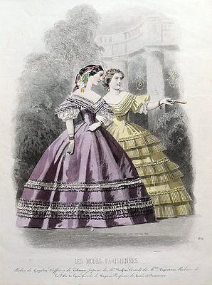 LES MODES PARISIENNE, PARIS FASHION plate 856 antique hand coloured print 1859