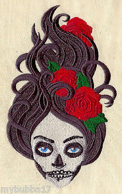 SKELETON GIRL ZOMBIE SET OF 2 BATH HAND TOWELS EMBROIDERED BY LAURA - Zombie Towel