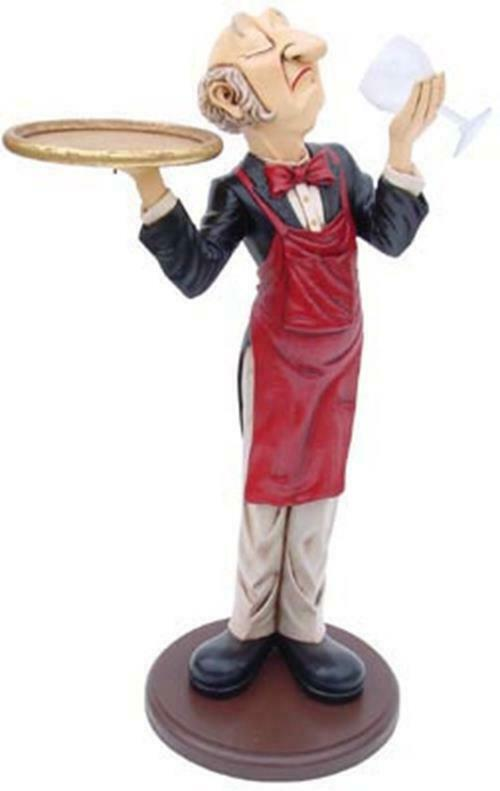 Connoisseur Statue - Connoisseur Waiter - Butler Statue - Wine and Glass Holder