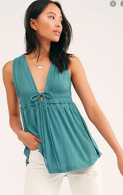 FREE PEOPLE TEAL BOHO BEACH BOUND TANK MEDIUM