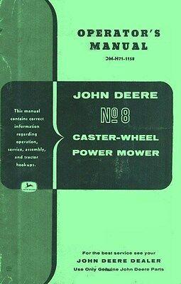 John Deere 8 Caster Wheel Power Mower Operators Manual