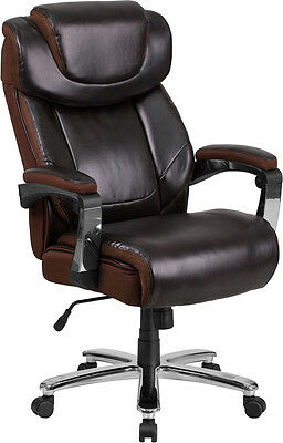 Big Tall Brown Leather Executive Office Chair Extra Wide Seat 500lb.capacity