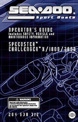 Sea-Doo Owners Manual Book 2004 SPEEDSTER 1600, CHALLENGER 1800 & 2000
