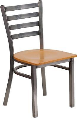 Hercules Series Clear Coated Ladder Back Metal Restaurant Chair - Natural Wood