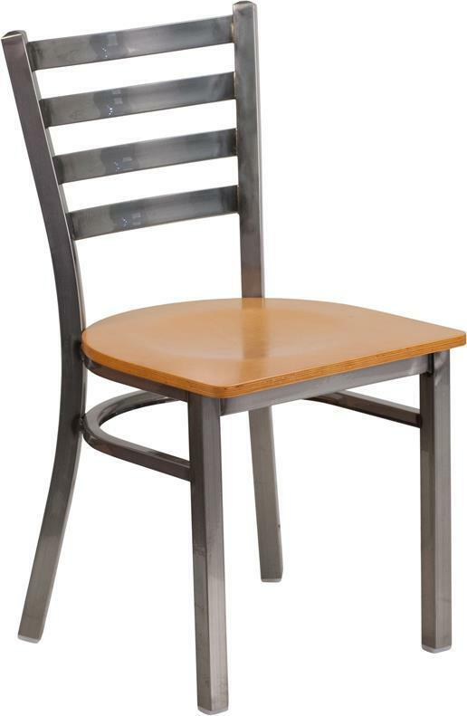 Lot Of 20 Clear Coated Ladder Back Metal Restaurant Chair - Natural Wood
