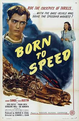 BORN TO SPEED Movie POSTER 27x40 Johnny Sands Vivian Austin Don le Frank Orth