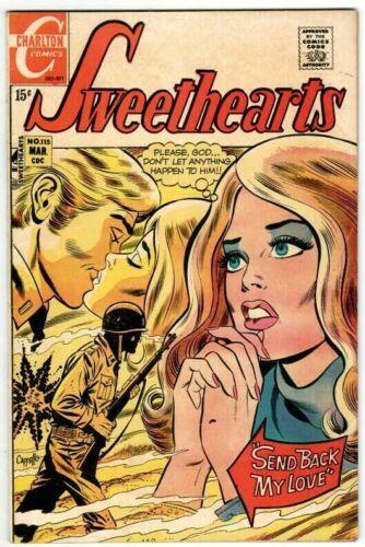 🚚 Sweethearts #115  Cappello Cover Art! 15c Bronze-Age Romance FN+ 1971