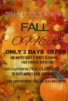 FALL OFFER FOR WHOLE HOUSE DUCT CLEANING