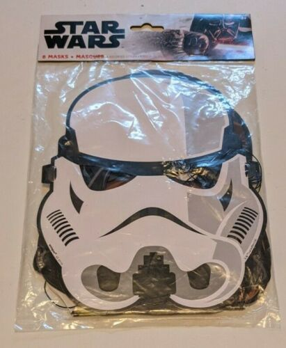 NEW Star Wars Party Masks Paper 8 Masks 2 Each Yoda Vader Trooper Chewbacca