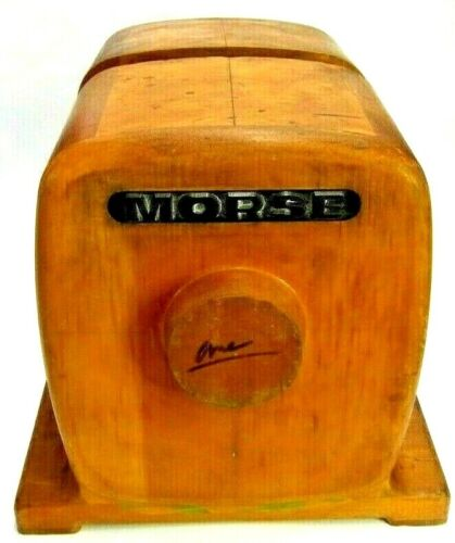 LOT OF 2 RADIO SHAPED MORSE FOUNDRY PATTERN WOOD INDUSTRIAL SCULPTURE STEAMPUNK