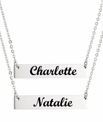 Personalized Silver Laser Engraved Name Plate Bar Chain Necklace Pendant #1006-2 Laser Engraved Pendants