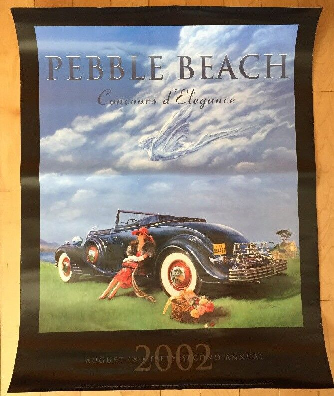 2002 Pebble Beach Concours Poster 52nd Annual. 1933 Cadillac Coupe. Nicola Wood