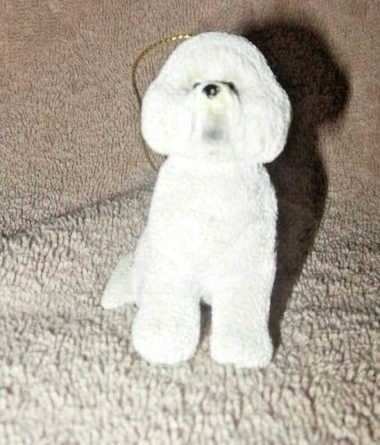 SUPER CUTE RESIN BICHON FRISE DOG BREED CHRISTMAS ORNAMENT NEW