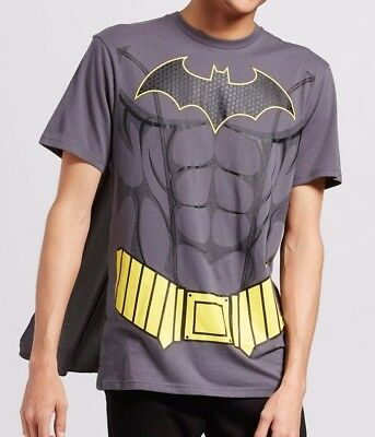 DC Comics Mens Batman Gray Muscle Costume T Shirt Detachable Cape M L - Batman Mens Costume