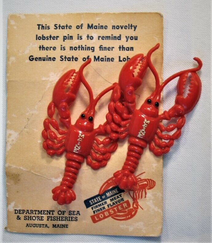 Vintage Maine Souvenir Pair of Lobster Pins with Package Shore Fisheries Augusta