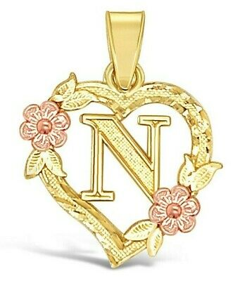 10K Yellow Gold Heart Initial Letter Pendant A-Z Alphabet Flower Necklace Charm Gold Heart Charm Necklace