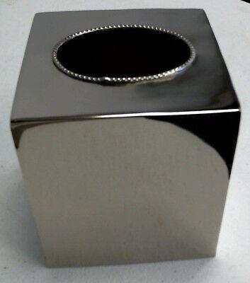 Chrom Tissue Box Cover (NEW CROSCILL Saxony Tissue Box Cover Chrome Silver Metal Bathroom Accessory)