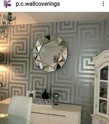Versace Style Greek Key Silver grey & Champagne Wallpaper