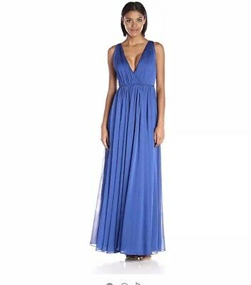 NWT Halston Heritage Iridescent Chiffon Gown Dress Size 12 Royal Blue ()