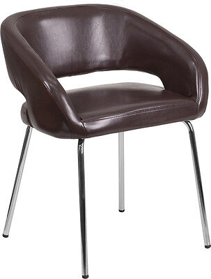Brown Leather Stylish Guest Reception Area Side Chair