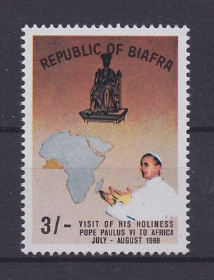 BIAFRA - 1969 Pope Paul Visit, SCARCE 3/- BROWN variety  - MNH/VF - Scott 30a