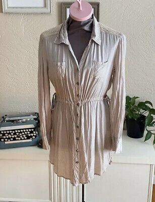Nine West Womens Button Down Tunic Length Crinkle Side Tie Lace Panel Top Medium