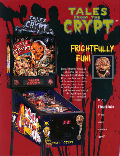 Tales From The Crypt Pinball FLYER 1993 Original NOS Halloween Horror Zombie Art